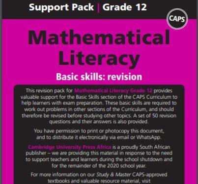 Maths literacy grade 12 support pack